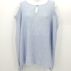 Pleione cold shoulder blouse xs blue white striped
